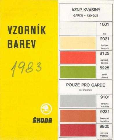 Vzorník barev Škoda veterání - Vzorník barev Škoda veterání