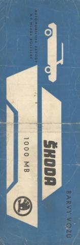 Vzorník barev Škoda 1000 MB - Vzorník barev Škoda 1000 MB